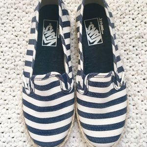 Vans Navy and white stripped Slip Ons